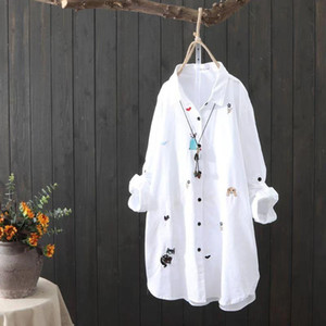 Plus size Cotton Embroidery women loose long white shirts 2021 spring autumn NEW casual ladies blouse female tops oversize