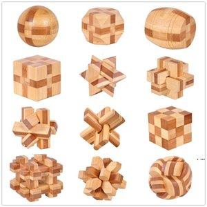 Ahşap Zincir Kilit 12 Stil IQ Beyin Teaser Kong Ming Kilit 3D Ahşap Kilitleme Burr Bulmacalar Oyun Oyuncak Bambu Küçük Boyutu Çocuk Oyuncakları HWF5605