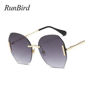 Sunglasses Runbird elegante sem aro Mulheres tamanho redondo redondo clássico designer roxo roxo 5173 r