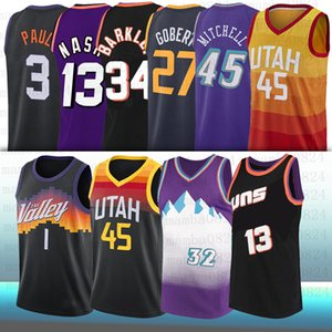 1 Devin Chris Booker 45 Donovan Paul Rudy Mitchell Gobert Karl 12 John 34 Charles Malone 13 Steve Stockton Barkley Nash Basketball Jerseys