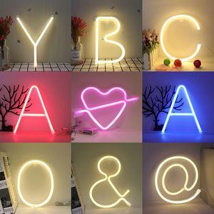 밤 라이트 네온 알파벳 램프 26 문자 번호 생일 웨딩 파티 침실 벽 교수형 장식 빛 밤