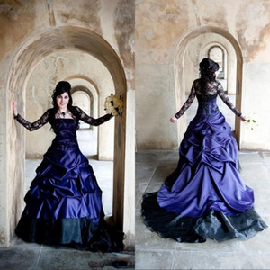 Vintage Victorian Gothic Plus Size Long Sleeve Wedding Dresses Sexy Purple and Black Ruffles Satin Corset Strapless Lace Bridal Gowns