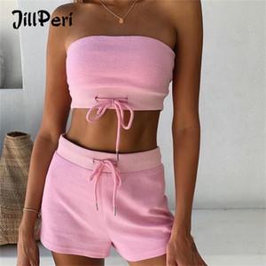 Jillperi Mujeres Verano Top sin tirantes Top y Pantalones cortos de 2 piezas Juego Pink Amarillo Correa Hoodie Outfit Casual Solid Comfort Lounge Set 210204