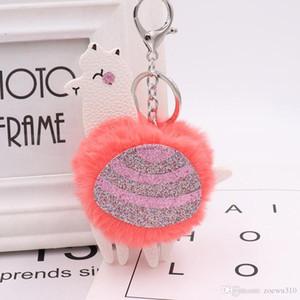 Alpaca Pom Keyring Sequins Leather Key Chain Fake Fur Keychain Cute Cartoon Animal Keychain For Car Bag Key Ring Pendant Gift DBC VT1051