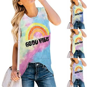 Carney Kani tie dyed women's Vest good vibes print crew neck sleeveless T-shirtXH0X3M