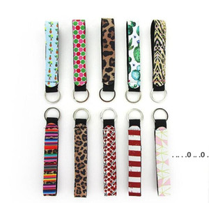 Wristband Keychains Floral Printed Key Chain Neoprene Key Ring Wristlet Keychain Party Favor Festive Party Supplies EWC6286