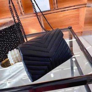 Bolsos cuadrados Square Loulou Cadena Real Cuero Bolsas de hombro de gran capacidad de cuero de alta calidad Bolsa de mensajero acolchado con caja