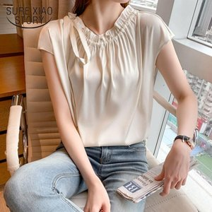 Women's Blouses & Shirts Plus Size Korean Sleeveless Women Tops Summer Elegant Bow Tie Satin Loose Solid Casual Chiffon Blouse 15213