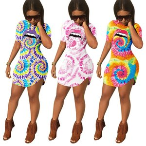 Spring Summer Dresses Women Goth Short Sleeve Printing Bag Hip Sexy Dress Birthday Night Club Outfits Streetwear Y2k Clothes