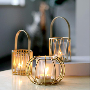 Metal Candlestick Household Hollow Out Candle Holder Container Desktop Decor for Living Room Bedroom Golden