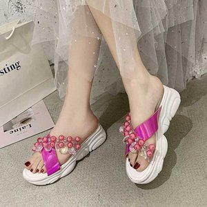 Rimocy Fashion Beaded Transparent PVC Sandals Women Summer 2020 Crystal Open Toe Platform Slides Woman Wedges Outdoor Slippers X6Jl#