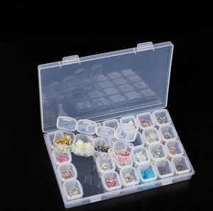 Dhl 28 Slots Clear Plastic Empty Nail Art Decoration Storage Case Box Nail Glitter Container Nail Tool Wholesale