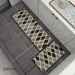 Grauer Schmutzfestboden Matte Einfache Küche Badezimmer Neue Stil Tür Teppich Diamant Check Retro Print Matte Teppich