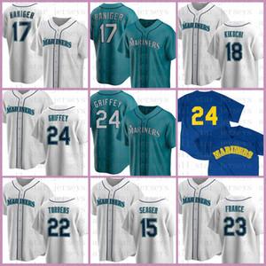 24 Ken Griffey Jr. Seattle Özel Mariners Beyzbol Forması 17 Mitch Haniger 18 Yusei Kikuchi 22 Robinson Cano Kyle Seager Nelson Cruz Turuncu