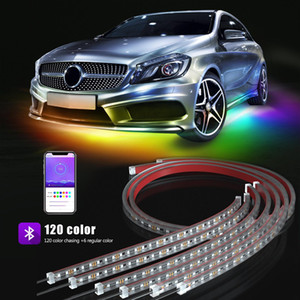 UK Stock Car led strips Lights Car Neon Accent Underglow Lighs Long Exterior Car Lights APP Controller 120 Chasing Color Waterproof