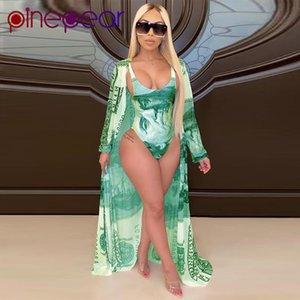 Women's Swimwear PinePear Women Money Print Bodycon Bodysuit+Cover Up 2 Piece Swim Suit Bikini Set Swimsuit Female Push Bathing