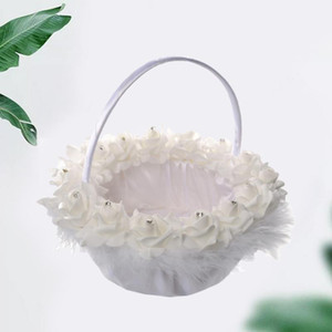 1PC Flower Basket Western Style Wedding Flower Basket Delicate Bride Imitation Feather Bamboo Woven
