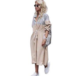 Women's Trench Coats Zipper Neck Casual Long Sleeve Drawstring Coat Outerwear