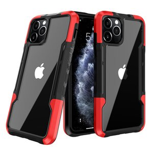 Rugged Armor Phone Cases For iPhone 12 11 Pro Max Xs Xr 7 8 Plus Shockproof Clear Soft TPU Bumper PC Back Cover