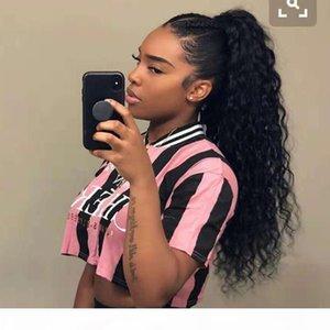 Nuevo llega Brasileño Human Virgin Remy Maíz Curly Ponytail Extensiones para el cabello Clip Instan Position Postales Natrales Negro Color 140g One Bundle
