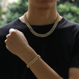 2020 12MM Miami Cuban Link Chain Necklace Bracelets Set For Mens Bling Hip Hop iced out diamond Gold Silver rapper chains Women Jewelry