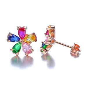 HBP Fashion Luxury Corea Micro Incrustado Zircon Crystal Cinco Color Flor Temperamento Ear Pendientes Pendientes 925 Plata Aguja Anti Allergy