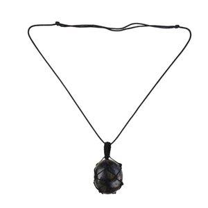 Fashion Labradorite Necklace Labradorite Pendant Necklace with Adjustable Rope