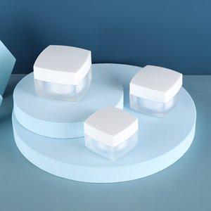 Pors acryliques carrés cossu givrés / clairs Côniers cosmétiques avec des couvercles en plastique blanc / noir PP LINER 15G 30 50G Crèmes à la lèvre à la lèvre