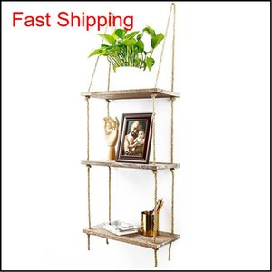 Wall Swing Storage Shelves Wood Hanging Shelf Rope Organizer Rack Wall Decor Retro Style Home Decoration Uneic Qihec