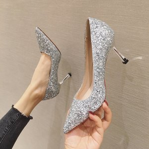 2021 high quality fashion high heels pointed toe sequins formal dress single shoes evening fashion women's shoes