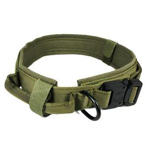 طوق الكلب مع الكلب العلامة النايلون للتعديل العسكرية التكتيكية الكلب كبير طوق مع مقبض التدريب تشغيل مخصص طوق الحيوانات الأليفة 745 K2