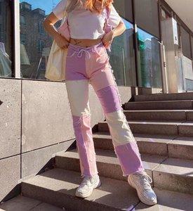 Woman Punk denim Jean Pant Contrast color Stitching Pencil jeans trousers S-2XL Pocket Pant 4Color