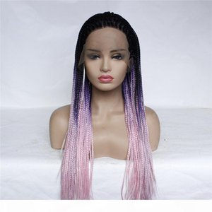 Natural Omtre color Long braids Hair Cheap Synthetic Lace Front Wigs Baby Hair High Temperature Fiber Soft Lace Wigs For Black Women