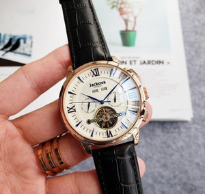 Mens Watch Deep genuine leather All work movement watch Moon Phase daydate mechanical automatic wristwatche for mens gift