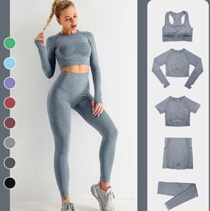 summer Women Yoga Suit Gymshark yogaworld Tracksuit Fitness Sports 5PCS bra Leggings outfits solid lU Align Leggings Shorts womans gym wear