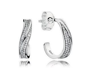 Orecchini con diamante cz in argento sterling 925 con scatola al dettaglio Moda Elegante onde Orecchie orecchini orecchini per le donne ragazze regalo gioielli orecchino