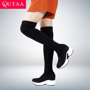 QUTAA 2022 Stretch Fabrics Over The Knee Boots Height Increasing Round Toe Women Shoes Autumn Winter Casual Long Size34-43 210913