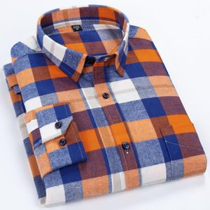 New Cotton Casual Mens Plaid Shirts For Man Flannel Shirt Men Dress Shirts Fashion Long Sleeve Slim Fit Soft Comfort Male Shirt
