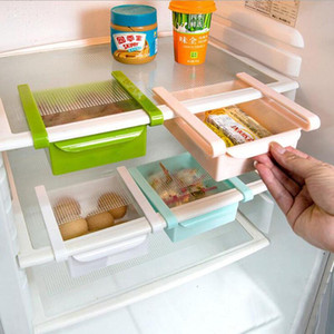 ABS Slide Storage Rack Organizador Ajustable Refrigerador Estante del estante Drawer Organizer Space Saver Fruit Snack Cocina Estante Estante