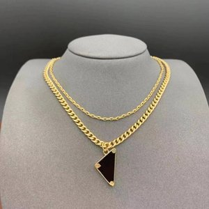 Luxury Fashion Designer Necklace Attractive men women double chain Stainless steel not allergic Personalized hip hop couple necklaces Inverted triangle Pendant