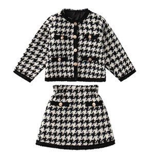 New Girls Outfits Fashion Kids Suits Long Sleeve Coat+Skirts 2Pcs Sets Spring Autumn Children 3-8Y Clothes SM032