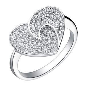 Anello a forma di cuore con tecnologia integrale placcato in platino a 18 carati