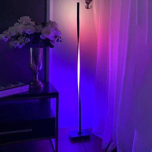 Modern RGB LED Floor Lamp for Bedroom Bedside Decoration,Home Living Room Floor Light Indoor Standing Lighting Fixtures DImming