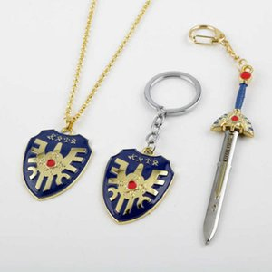 hot cake Game Rpg Dragon Quest Warrior Kuesuto Keychain Keyring Metal Sword Shield of Road Key Chain Holder Men Women Choker Necklace