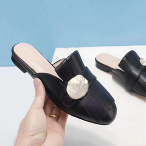 2021 new design girls fashion slippers women's casual flat leather slipper shoes outdoor suede soft flats red black gold big size 41 40 #G52