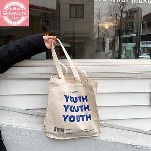 Женщины Холст Корзина для покупок Молодежные буквы Печать Женская Хлопковая Ткань Сумка Сумка ECO Сумка Tote Многоразовый Продуктовый Покупатель Сумки C0225