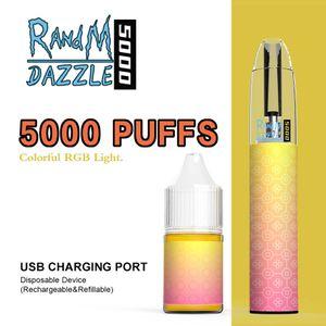 R ve M Dazzle 5000 Puffs Tek Kullanımlık Sigaralar Randm Vape Kiti Prefedce 10ml Pod RGB Işık