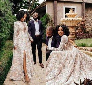 Vintage Crochet Lace Wedding Dresses Vestido De Novia Long Sleeve Sexy Slit Applique 2022 Garden Bohemian Bridal Dress Wear