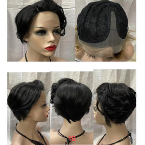 Short Pixie Cut Wigs Human Hair Lace Front Wigs Size Part Human Hair Wigs For Black Women Black Color