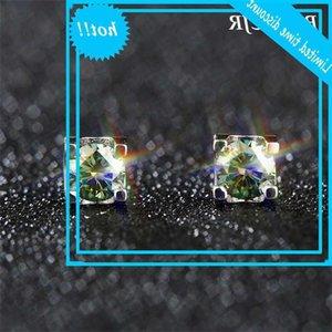 BoeyCJR S925 0.5 / 1 / 2ct Blue Green Moissanite VVS1 Joyería fina Diamond Stud Pendiente con certificado de hierba para mujeres